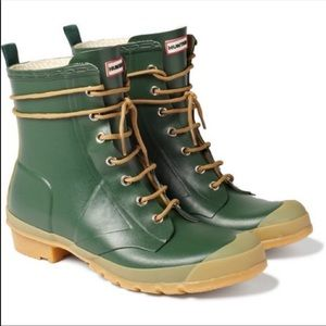 Hunter Green Thurloe Lace-up rain boots 7